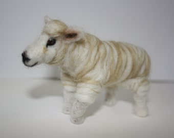 Small needle felted sheep sculpture