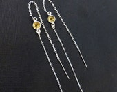 6 inch Very Long Yellow Citrine (Genuine Gemstone) Sterling Silver Long Threader Earrings