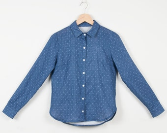 20% Long Sleeves Organic Cotton Blouse, Blue with white dots / Black with kittens / Burgundy