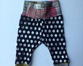 Organic baby leggings- cuff leggings- black and white polka dot