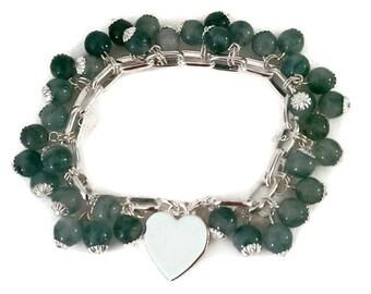 Green Jade Heart Bracelet - Sterling Silver Jade Bracelet - Silver Green Jade Bracelet - Sterling Silver Heart Bracelet - Heart Bracelet