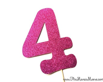 Photo Booth Props - GLITTERY number on a stick  -  You Choose Number and Color - GLITTER Photobooth Prop