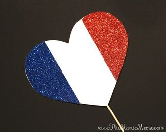 Photo Booth Props ~ GLITTERY France Flag Heart  - France Flag - GLITTER Photobooth Prop