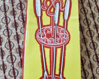 1960s Fred Roberts Fondue Fork Set with Poppy Red Stand New In Original Box