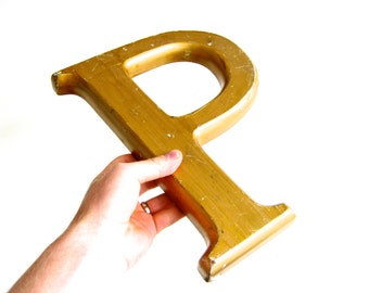 Wooden letter p etsy for Large wooden letter p