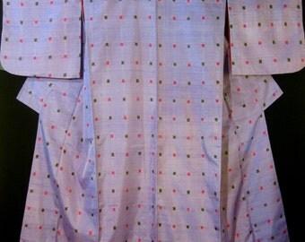 "Vintage 30""s Meisen Silk Shantung Japanese Kimono Lavender Lilac w/ Black / Hot Pink Squares."