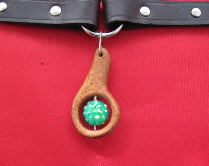 wood pendant necklace choker.  leather choker with shambala bead. leather wood choker, Beaded choker. wood and bead chokerf