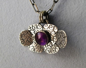 3D Art Deco Purple Faceted Amethyst Flower Hand Stamped Swirl Pendant Gemstone Sterling Silver Necklace Jewelry