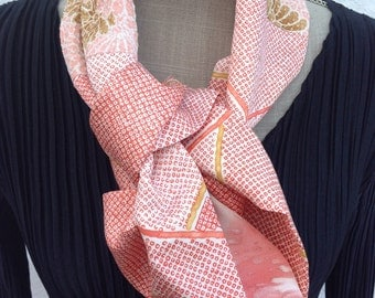 In the pink, vintage kimono silk infinity scarf. FREE SHIPPING