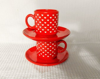 Tea Cups 4 Piece set Ceramic Wachesters Bach West German Pottery Red White Heart set