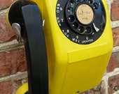 Vintage Rotary Wall Telephone Automatic Electric Safety Yellow 1950s