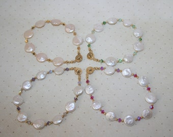 Choice of Swarovski Crystal Fresh Water Coin Pearls Beaded Bracelet Gold Tone