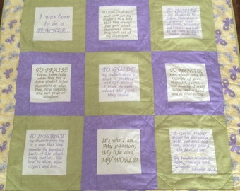 Teacher Inspired Thank You Hanging Or Lap Quilt