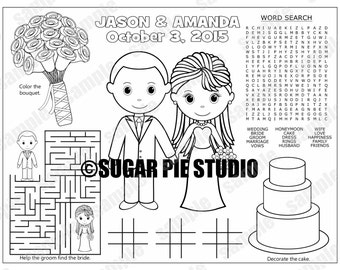 Wedding Favor childrens kids coloring page activity Personalized Printable PDF or JPEG file