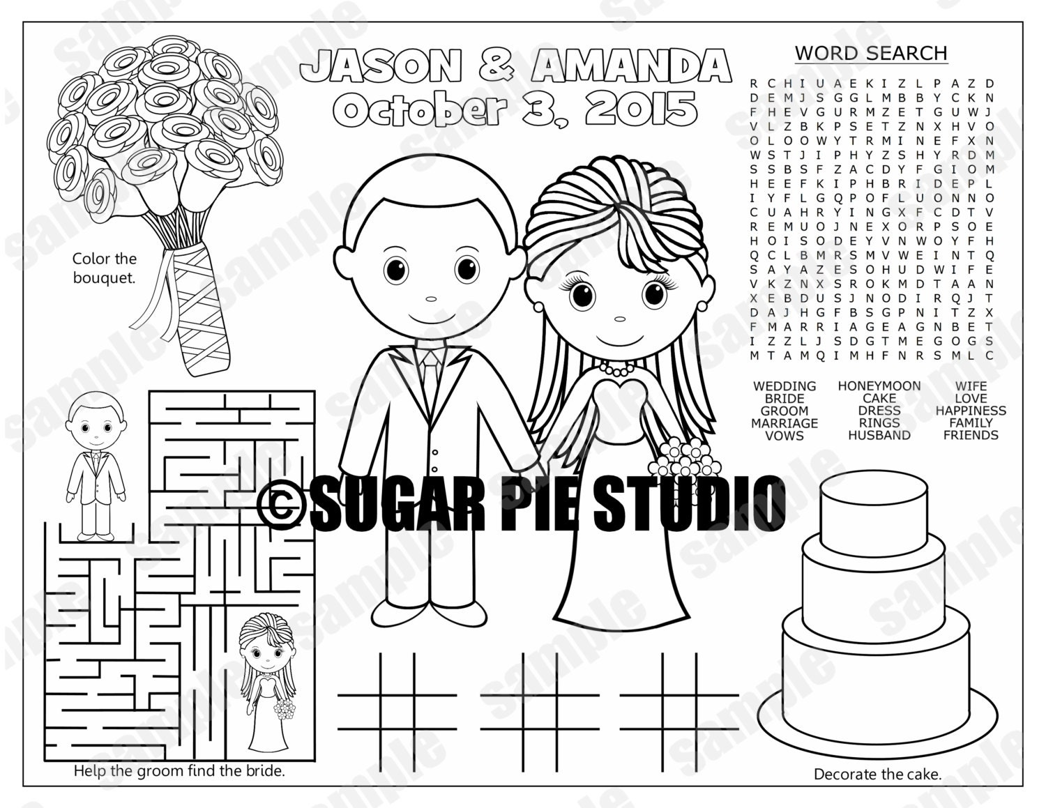 bride groom kids coloring page wedding activity favor
