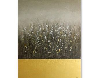 "Original Art, large painting 30 X 40 ""Field of Gold"" ready to hang"