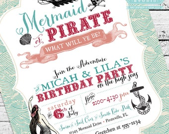 Vintage Mermaid and Pirate Birthday Party Invitation, Mermaid and Pirate Invitation, Mermaid and Pirate Invite