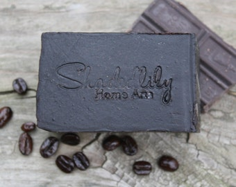 Chocolate Coffee soap, chocolate soap bar, exfoliating soap, spa soap, soap gift for women, rustic soap, brown, black