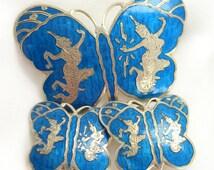 Vintage Blue Siam Sterling Silver Brooch and Earrings Butterflies Set 1950s Jewelry