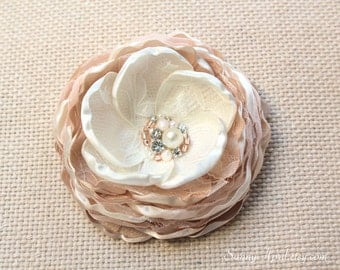 Ivory Champagne Blush Hair Flower/ Brooch/ Handmade Wedding Accessory