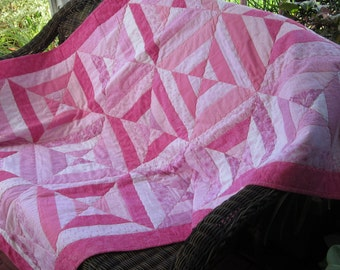 Pretty Pink  Girly Girl Pieced Quilt