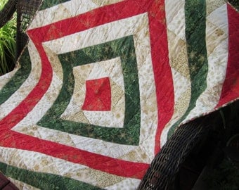 Red, Green, and Gold Batik Christmas Quilt