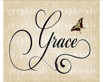 Calligraphy Grace Butterfly Instant graphic Digital download image transfer for iron on fabric burlap pillow totebag card decoupage No 536