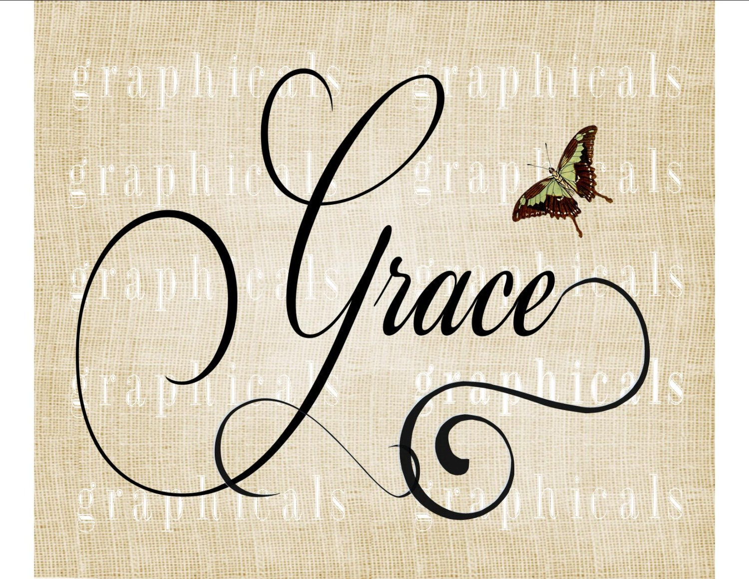 Calligraphy grace butterfly instant graphic digital download