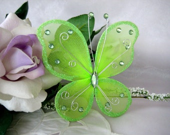 5 inches Green Nylon Butterflies for Baby Shower, Wedding Decor, Flower Arrangement, Table Scatters, Christening Favors