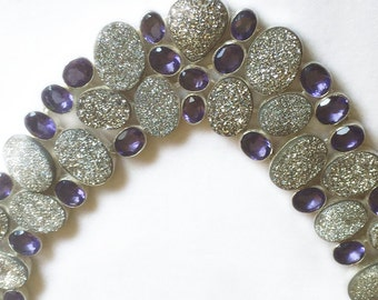 Iolite and Druzy Necklace - 157 Plus Carats - 925 Sterling Silver - Statement Necklace - Bib Necklace - Estate Necklace