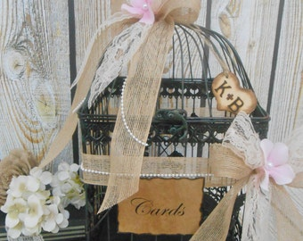 Large Rustic Burlap and Lace Wedding Birdcage Card Holder / Wedding Card Box / Large Wedding Card Holder