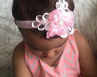 Baby Girl chiffon  and sequin rosette elastic headband, ,Baby Headbands.Girl Headbands.