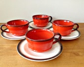 Vintage Cups and Saucers METLOX POPPYTRAIL Rooster Red Orange Set of 3 mugs and saucers