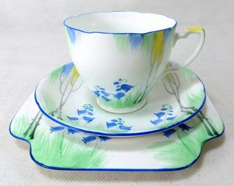 Art Deco Floral Trio, Grafton Bluebells Handpainted Porcelain Cup, Saucer, Teaplate Trio Set 1970s