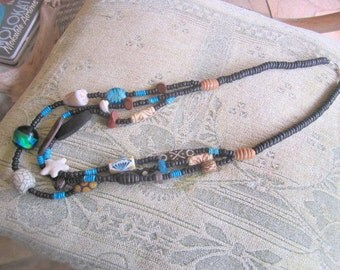 Island necklace, long three strand necklace, big tribal necklace, tropical necklace, island jewelry