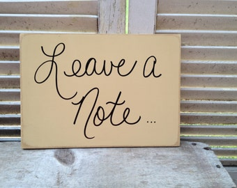 Tan and Black Leave A Note Wedding Sign, Wooden Reception Signage, Leave A Note