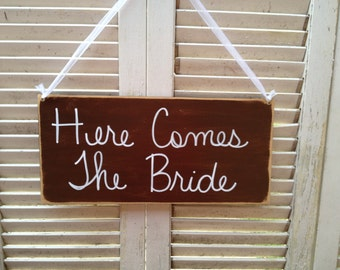 Distressed Brown and White Here Comes The Bride Wedding Sign, Wooden Ring Bearer and Flower Girl Signage, Bride Wedding Hanger, Fall Wedding