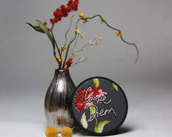 Carpe Diem Floral Embroidery Wall Art Decor