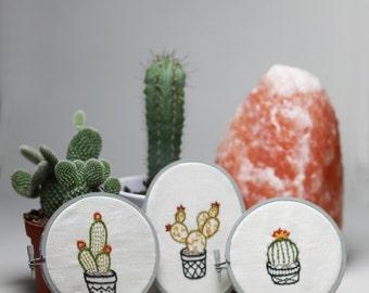 Set of 3 Cactus Handmade Embroidery Wall Art Decor