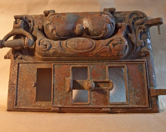 Vintage Cast Iron Stove Door / Rusty Decor / Industrial Salvage