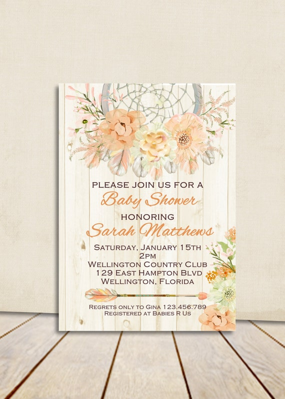 Boho Rustic Wood Dream catcher Baby Shower Invitation Peach Apricot Gender Neutral Printable Shower Custom Invite