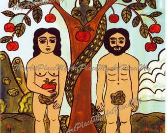 Adam and Eve Postcard, Adam and Eve Art, Christian Art, Religious Folk Art, Catholic Art,  New Mexico Saint, Folk Art Saint, Mexican Art