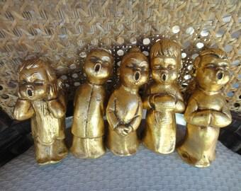 Singing Choir Angel Figurines Gold Choir Angels 5 pc set