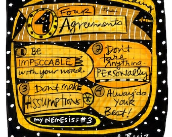 The Four Agreements 8x10 Fine Art Print by Anne Leuck