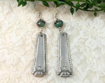 Spoon Handle Drop Earrings  Fire Polished Bead and Spoon Handle Earrings Tribal Pattern Earrings  item 966