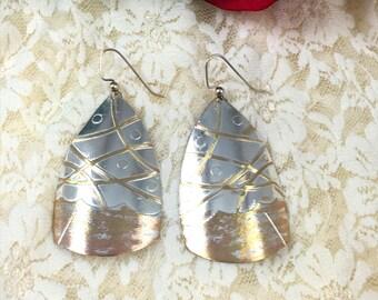 Etched Silver Dangle Earrings    Drop Earrings   Silver Earrings  item 975