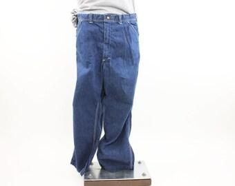 Vintage 70s LEE Dungarees Jeans Carpenter Pants Work Chore Jeans Blue Denim Jeans Mens 1970s Size 39