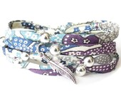 Special 18th birthday gift for girls, bohemian feather bracelet with patterned Liberty fabric in blue and purple and 9x silver beads