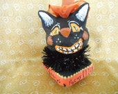 Black Cat Halloween OOAK Art Figurine Paper Mache Art Sculpture Handmade Decor Shelf Setter Mantle Accessory Primitive Rustic