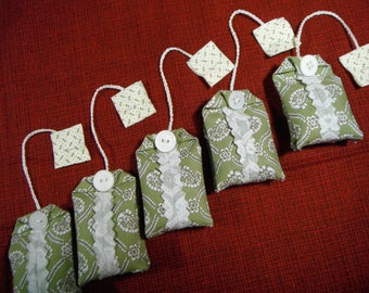 Lavender Sachet  Fabric Tea Bag Drawer Freshener Closet Freshener Set of 5 NON-EDIBLE
